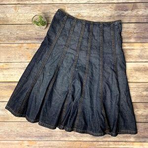 Michael Kors Pleated Flared A-Line Denim Skirt